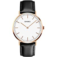 Men's Leather Dress Wrist Quartz Watch Black Leather Band Casual Analog Watches Classic Fashion Waterproof Business Wristwatch with 40mm Case Stainless Steel Thin Dial