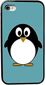 Rikki KnightTM Penguin on Teal Blue Design iPhone 5 & 5s Case Cover (Black Rubber with bumper protection) for Apple iPhone 5 & 5s