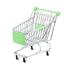 sea-junop Small Shopping Cart Supermarket Handcart Trolley with Seat Rolling Wheels(Green)