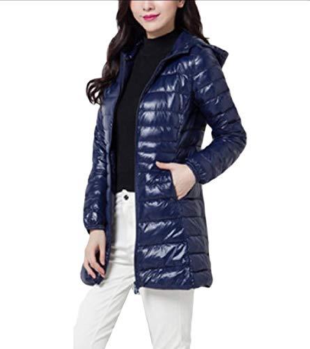 Winter RkBaoye Plus Hoode Lightweight Coat Women Fall Slim Warm blue Navy Down Size HUUxXqr