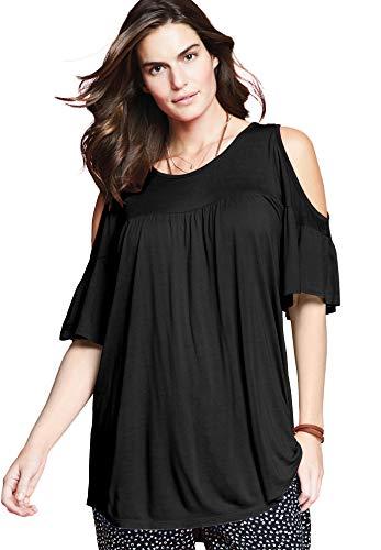 Chelsea Studio Women's Plus Size Flare Sleeve Cutout Cold-Shoulder Top - Classic Black, M