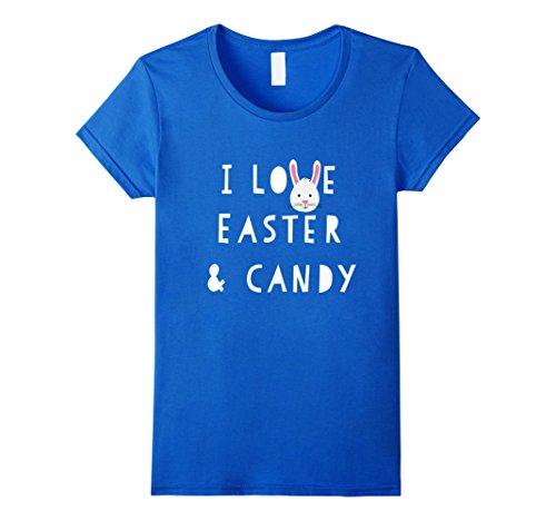 Women's I Love Easter & Candy T-Shirt XL Royal Blue