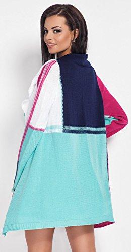 Glamour Empire cárdigan ligero en cascada - rayas colour block - para mujer 353 Fucsia