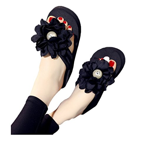 Flyrioc Womens Plumeria Flower High Platform Wedge Flip Flop Thong Sandals Black US (Flip Flops With Flower)