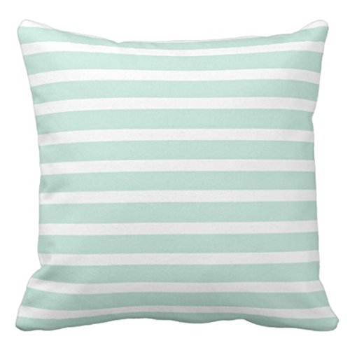 Jbralid Stripes Seersucker Mint Green White Striped Lines Beautiful Stripe Pillow Cover Cotton Indoor Home Decor Throw Pillow Case 26x26 in
