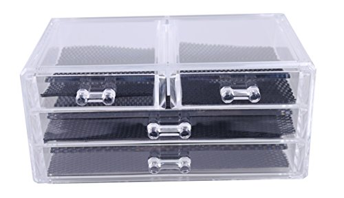 PMLAND Acrylic Jewelry Organizer, Arranges Makeup and Accessories, 4 Drawers Cosmetic Storage Display Box ()