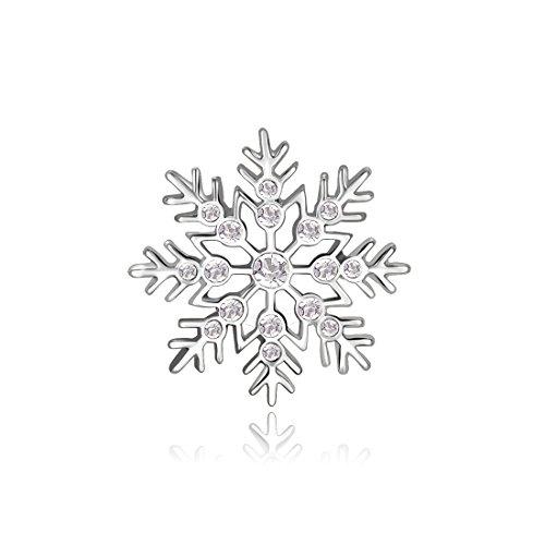 Candyfancy Clear Crystal Rhinestone Snowflake Brooch Lapel Pin Badge Women Girls Gift