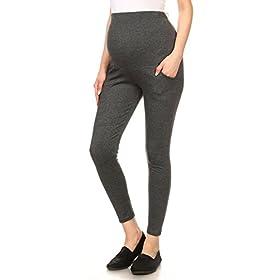 - 415U4ijkVSL - Leggings Depot Women's Ultra Soft Maternity Belt Adjustable Belly Support Comfort Stretch Essential Leggings