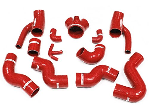 Autobahn88 Silicone Intercooler Hose Kit for 1997-2002 Audi S4 B5 A6 B5 RS4 2.7T Bi-turbo Quattro -Red -without Clamp Set