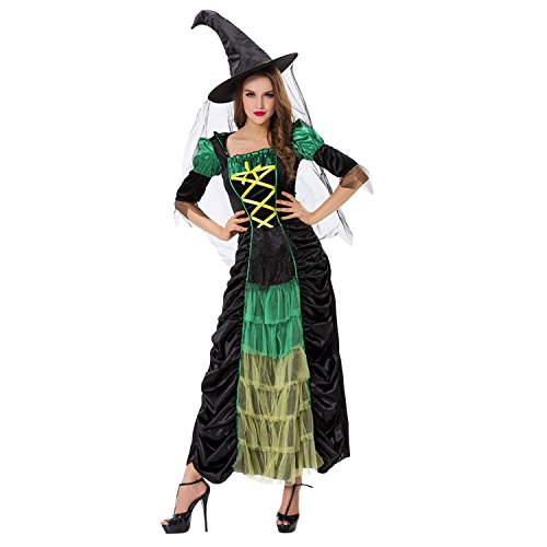 [HighFS Women's 2 Piece Storybook Witch Costume Glamour Sorceress] (Glamour Witch)