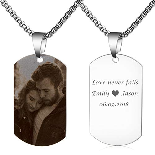 Fanery Sue Personalized Photo Necklace Custom Picture Military Dog Tag Customize Text Engrave Name Necklace(Black and White Picture-Silver Dog tag)