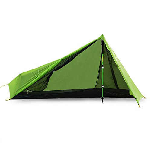 Ultralight 1 Man Tent, Andake Portable Camping Tent Waterproof Silicone Coated 15D Nylon Ripstop Fabric Compact Backpacking Tent with Carry Bag for Climbing, Hiking and Travel (main pole not included)