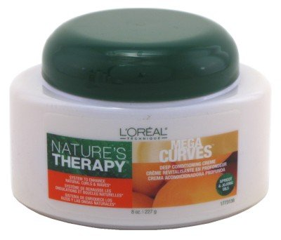 Loreal Natures Therapy Conditioner Mega Curves Deep Creme Jar 8 Ounce (235ml) (2 Pack)