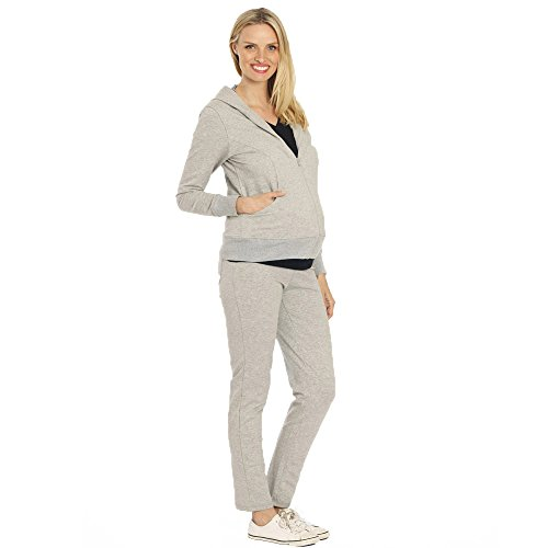 Angel Track Jacket (Angel Maternity Women's Tracksuit Set In Marl 3X-L Grey)