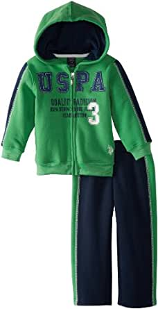 U.S. Polo Assn. Little Boys' Zip-Up Fleece Hoodie and Pant, Green, 4