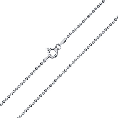 Diamond Cut Ball Bead Chain Sparkle Necklace For Women Solid Strong 150 Gauge Italian 925 Sterling Silver 20 Inch