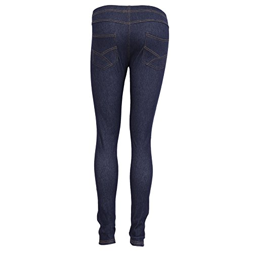 Donna Jeggings Floso Leggings Nero Effetto Jeans HYqnInfO
