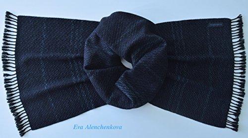 100% Cashmere Men's Blue Handwoven Scarf by Eva Alenchenkova