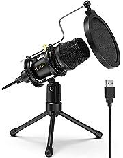 Computermicrofoon, NJSJ USB Condensator Studio Microfoon met statief Stand & Pop Filter voor Zoom Skype Youtube Streaming Gaming Podcasting, Compatibel met Windows iMac PC
