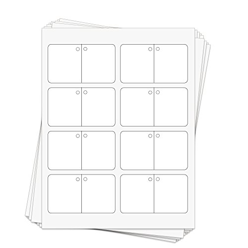 (80 Printable White Cardstock Folding Hang Tags with Holes, 3.5 x 2 Inches, Two-Sided Personalize and Custom Tags)