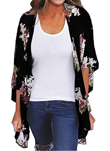 Finoceans Women's Kimono Cardigans Loose Beach Cover Up Black Floral M ()