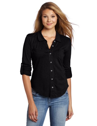 Amazon.com: Michael Stars Women's Luxe Slub Raw Edge Fitted Button ...