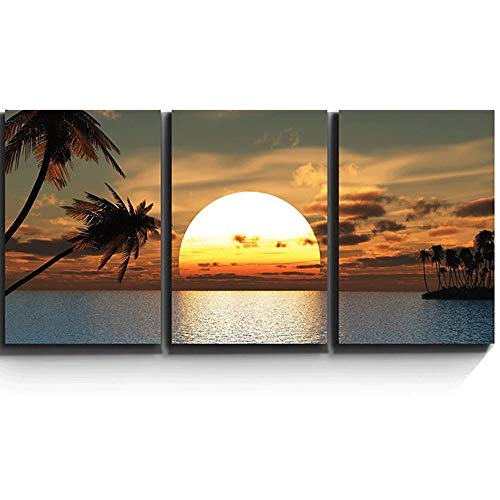 Handser Diamond Painting Kits Rhinestone Painting Kit, Cross Stitch Tropical Sunset Sea Palm Tree 3pcs Diamond Mosaic Painting, Paint by Number Kits for Adults Room Decor - Tropical Tree Diamond Palm