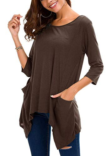 Urban GoCo Women's Plus Size Pocket Tunic Top 3/4 Sleeve Shirt (XL, Coco)