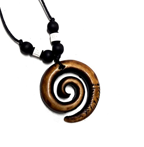 [Spiral Necklace Tortoise Necklace Bone Maori Spiral Koru Necklace] (Dragon Lady Sexy Costumes)