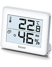 Beurer HM 16 termohygrometer, inomhusklimatkontroll med temperaturvisning och luftfuktighet, smiley-display