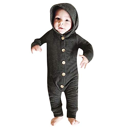 (FEITONG Infant Baby Girls Boys Long Sleeve Solid Hooded Jumpsuit Romper Outfits Crawling Suit(12-24M,Black))
