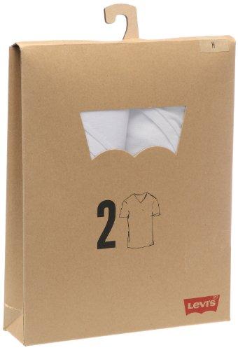 Levi's Herren T-Shirt 2 er Pack V Neck Tee Slim Fit 829830004 Gr. 58 (XXXL) Weiß (White(60)/White(60))