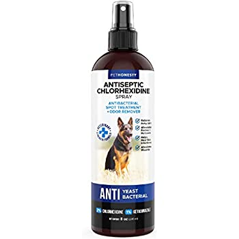 Hot Spot Spray for Dogs & Cats - Chlorhexidine Spray - Skin and Coat Treatment with Ketoconazole Aloe to Manage Ringworm, Itching Skin Relief, Yeast Infection, Allergies, Acne