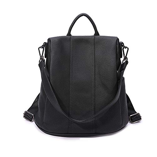 (Women Backpack purse girls Anti-theft rucksack Faux Leather shoulder bag for ladies(black))