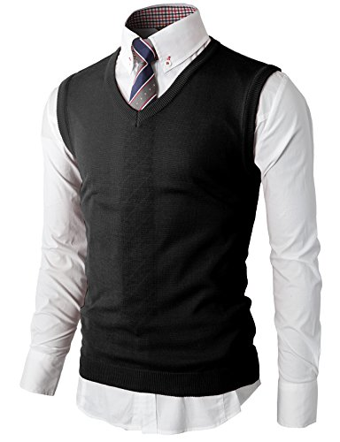 H2H Men's Cashmere Wool Blend Relax Fit Vest Knit V-Neck Sweater Black US S/Asia M (KMOV050)
