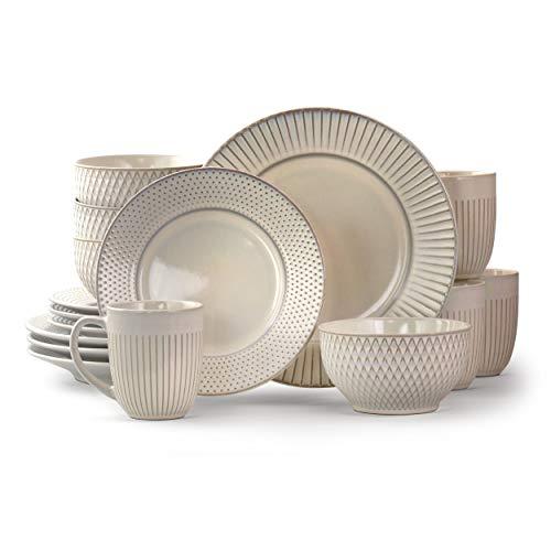 Elama Contemporary Round Embossed Stoneware Dinnerware Dish Set, 16 Piece, White