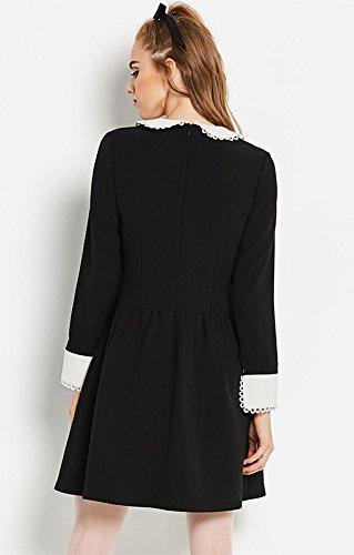 et Blanches Vintage Noir Noir Robe Retro Manchettes Mercredi col Addams avec fcOfnWARqX