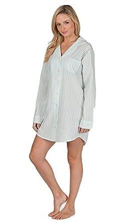 8a027edb8fdf Ladies Cotton Boyfriend Style Woven Button Up NightShirt Nightdress Nightie  (16-18