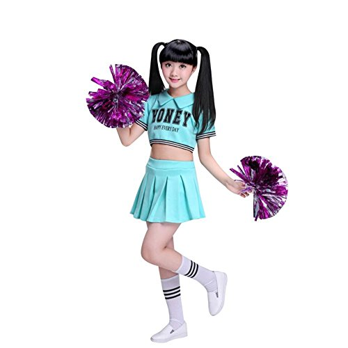 Jojobaby Little Girls' 2 Piece Cheerleading Outfit Uniform Costume Complete Outfit Cosplay With Socks (10-11 Years, (Cheerleading Outfits Halloween)