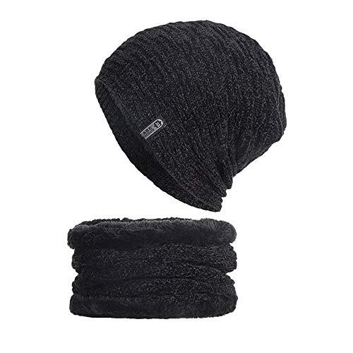 (Yoyorule Fashion Winter Cap 2-Pieces Winter Beanie Hat Scarf Set Warm Knit Hat Thick Knit Skull Cap Unisex Black)