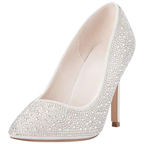 - David's Bridal Crystal Detailed Satin Pointed-Toe Pumps Style RENZO73X, White, 8