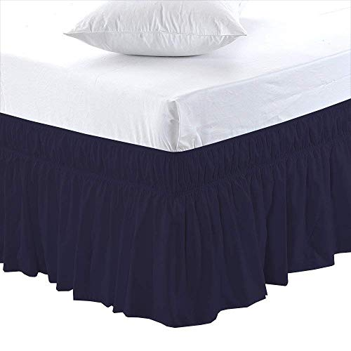 Black Friday & Cyber Monday Deals ! Ruffled Wrap Around Bed Skirt-24 Inches Drop Easy Fit Twin XL Size Navy Blue Solid (Available for All Bed Sizes and Colors)