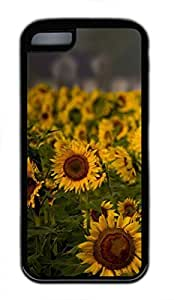iPhone 5c case, Cute Sunflower Field Cloudy Summer Day iPhone 5c Cover, iPhone 5c Cases, Soft Black iPhone 5c Covers