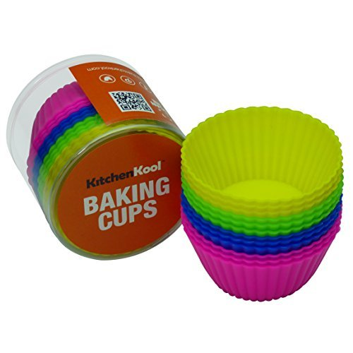 KitchenKool Silicone Cupcake Baking Muffin Cups Liners Molds - set of 12 by KitchenKool