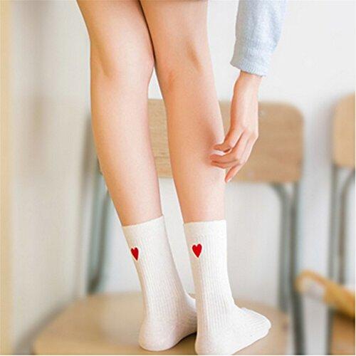 Dolland Women's Cute Heart-shaped Ankle Socks Casual Cotton Crew Socks For Women,Milk White Heart -