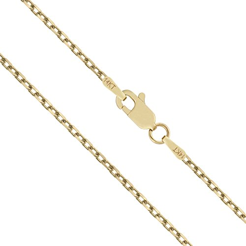 (Honolulu Jewelry Company 14K Solid Yellow Gold 40 Gauge 1mm Cable Chain Necklace - 18 Inches)