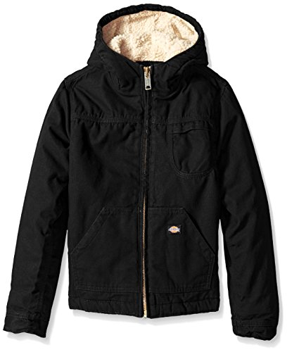 (Dickies Big Boys' Sherpa Lined Duck Jacket, Black, Large (14/16))