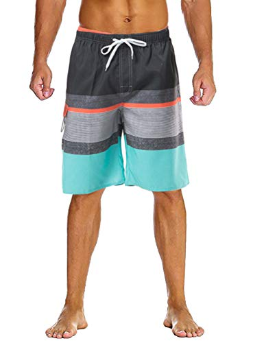 Lncropo Mens Quick Dry Swim Trunks Striped Beach Board Shorts with Lining and 3 Pockets(B9-Grey+Blue, M)