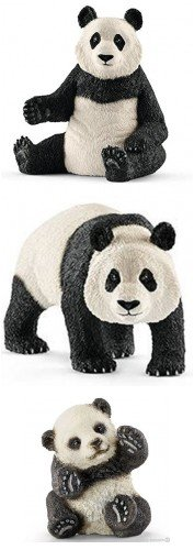 Schleich Wildlife Giant Panda Family Set of Three: Adults with Cub Playing Bagged Together Ready to Give Wild Life - Schleich Replica