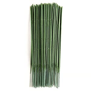 YOTHG 100 x Green Flower Sticks Artificial Flowers Bouquet Plant Support Stick Plastic Flower Rod Gardening Stem Wire Floral Wire for Tulip Bridal Wedding Bouquet Party Floral Decor(17CM) 100